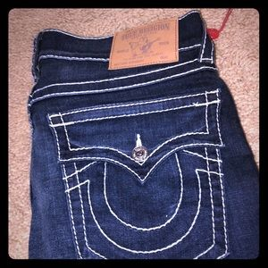 Dark blue navy true religion jeans straight 34